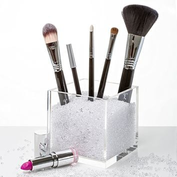 NEW! Acrylic Makeup Brush Holder & Countertop Cosmetic Organizer with Beautiful CLEAR Crystals. #1 Makeup Organization to Store Your Best Brushes, Eyeliners, Pencils, Lipstick etc. Great Gift Idea!