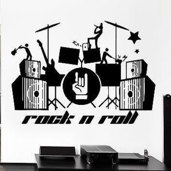 Wall Stickers Music Rock Guitar Drum Band Pop Art For Living Room Unique Gift (z2620)