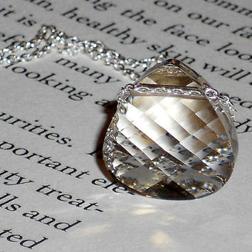 sterling silver swarovski crystal necklace, simple jewelry, briolette necklace