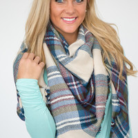 Plaid Blanket Scarf- Teal Multi