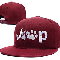 BARONL Jeep Wrangler Cat Dog Paw Adjustable Snapback Embroidery Caps Hats - Red