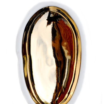 Gold Glazed Porcelain Pebble Dish