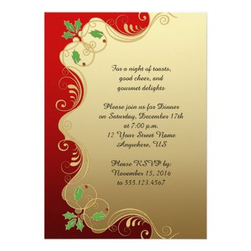 Elegant Red Gold Green Holly Christmas Party 5x7 Paper Invitation Card