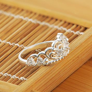 One Princess Queen Crown Ring Design Wedding Crystal Size 8 Fashion Jewelry Ring