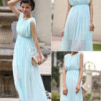 Empire Bateau Ankle-length Chiffon Light Sky Blue Cocktail Dress With Pleating at Dresseshop