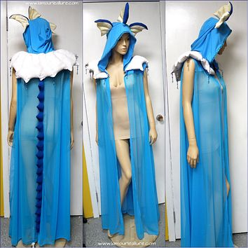 Vaporeon Pokemon Ear Cape Robe Cosplay Costume