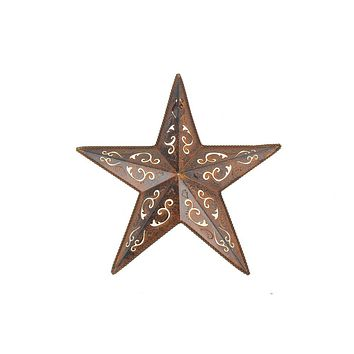 Metal Hanging Rusty Star with Black Lacey Christmas Decor, 12-Inch