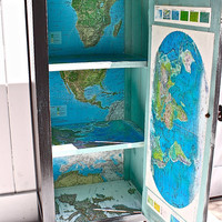 Rustic Cabinet Black Repurposed The World Traveler by ObjectsdeArt