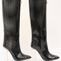 New VERSACE black patent leather plexi platform cage boots