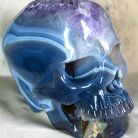 LIFESIZED Geode Agate Carved Crystal Skull, Super Realistic