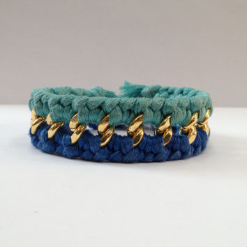 Double Woven Chunky Chain Cuff Bracelet
