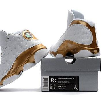 Boys Preschool Jordan Retro 13 White Gold Girls Kids Basketball Shoes