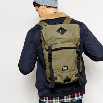 ASOS Hiker Backpack In Khaki With Clips