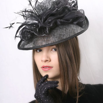 Silver and black Kentucky derby hat, Royal Ascot fascinator, Melbourne cup lace Facsinator, Haute Couture hat, Spring party hat,