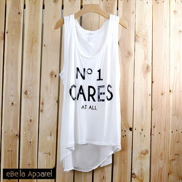 No 1 Cares At All - Women's Flowy High Low White, Graphic Print Tank Top