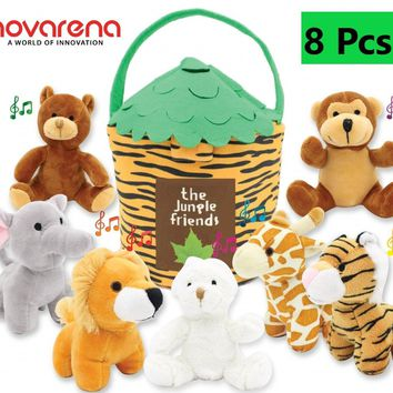NOVARENA Jungle Friends Talking Plush Animals Set & Carrier for 1 Year Old & up Boy Girl Baby Realistic Sounding Stuffed
