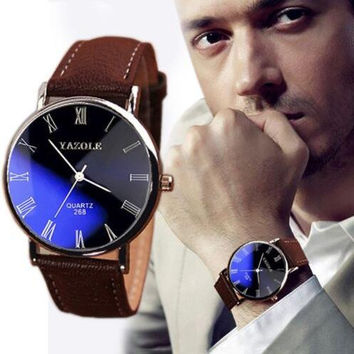 Men's Date Leather Stainless Steel Military Sport Quartz Wrist Watch +Thanksgiving Christmas Gift Box
