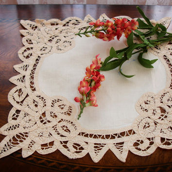 "Doily, Centerpiece Doily, Linen and Battenburg lace, Italian doily, European doily, Ecru and Beige, 11.5"" square,  Vintage decor, highend"