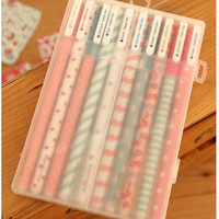 Cute Kawaii gel pen, color ink pen, color marker, colored pencil, gel stick pen, gel ink pen, bling roller pen, highlighter pen with pen box