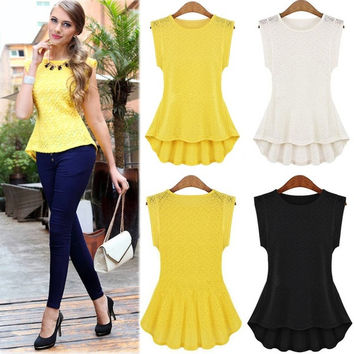 Fashion Women's Lace Peplum Frill Bodycon Casual Party Tank Shirt Tops Blouse Z_G = 1946617860
