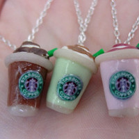 Starbucks Strawberry Smoothie, Green Tea Latte, Frappucino Necklace by SimplyEncharming