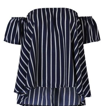 FREE SHIPPING Navy Stripe Off Shoulder Blouse