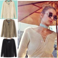 Ladies Sweater Summer V-neck Pullover Slim Tops Needles [31067963418]