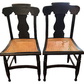 Vintage Empire Cane-Seat Chairs, Pair