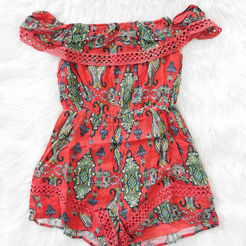 Lynn Off The Shoulder Print Romper (Coral Green)