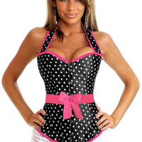 Black White Polka Dots Rockabilly Belted Halter Corset