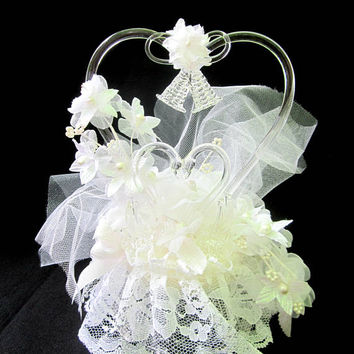 Wedding Cake Topper Vintage Pulled Blown Glass Heart Swans Vintage