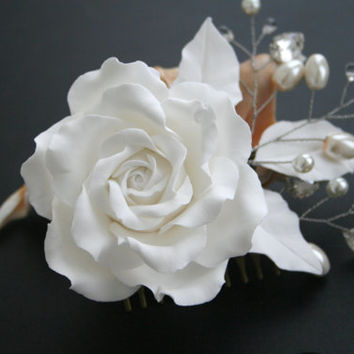 Wedding hair accessories, Wedding flower comb - white rose, Wedding Hair flower, Bridal pearl comb, Bridal headpiece, Flower bridal comb