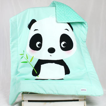 Baby Blanket  Overlay Throws Minky panda opal mint stroller buggy blanket car Blankets  light fibres