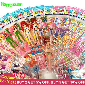 Happyxuan 24 sheets/lot Cute Cartoon Mermaid Dress Up Puffy Stickers School Puffy Early Learning Girls Toys