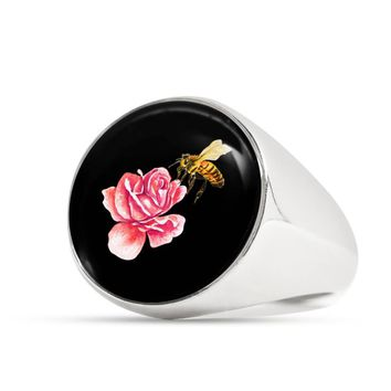 Honey Bee and Rose Signet Ring