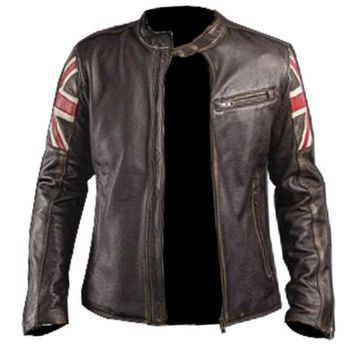 UK Flag Cafe Racer Men Vintage Brown Real Leather Jacket