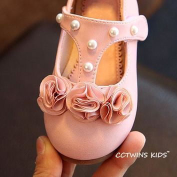 Fashion Online Flower T-strap Toddler Pearl Shoes