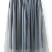 Grey High Waist Mesh Pleated A-Line Mini Skirt