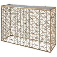 Crosshatch Console Table with Inset Mirror Top   Gold