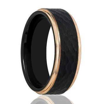 Black and Rose Gold Hammered Tungsten Men's Wedding Band