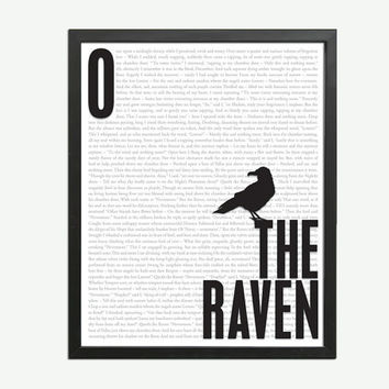 The Raven by Edgar Allan Poe - Art Print - Poster for Book Lovers - 8 x 10 Wall Decor