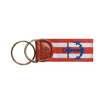 Striped Anchor Needlepoint Key Fob in Coral by Smathers & Branson