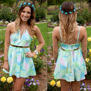 Spaghetti Strap V-neck Printed A-Line Mini Skater Dress