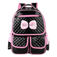 CrazyPomelo Princess Bowknot PU Faux Leather Primary School Girls' Backpack