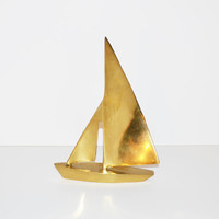Vintage Brass Sailboat Solid Brass Boat Figurine Nautical Home Decor Brass Ship Maritime