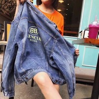 """Balenciaga"" Women Fashion Casual Simple Long Sleeve Denim Cardigan Coat"