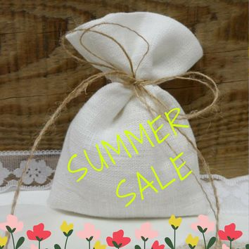 Tea bag favors 5x7 inch. Burlap small bag 25. Rustic wedding favor. White burlap bags. White linen mini bags