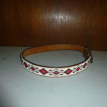 Womens Beaded Belt Brown Leather S Small Hand Crafted