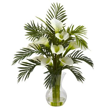 Artificial Flowers -Cream Calla Lily And Palm Combo Arrangement Silk Flowers