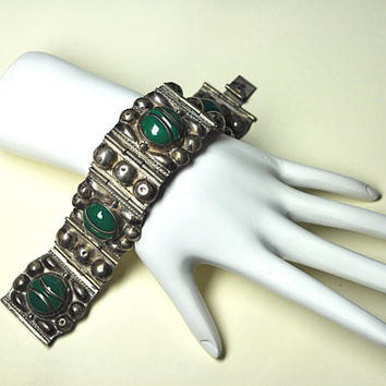 Vintage MEXICO STERLING Bracelet , Early Mexican Silver Link and Green Onyx, 1940's, Modernist, Chunky, Wonderful! #A820